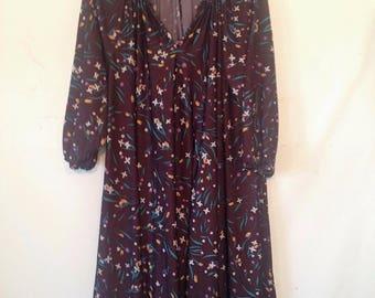 plus size brown dress brown floral dress 1980s VTG 80s XXL XXXL plus size clothing tent dress dress size dress womens plus size clothing