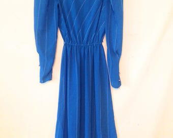 vintage striped dress 1980s blue dress striped blue dress 1980s dress VTG 80s secretary dress small sheer striped dress small dress