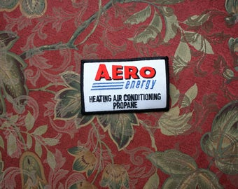 Vintage Aero Energy Heating Air Conditioning Propane Embroidered Patch. 70s or 80s Rare Worker Industrial Patch. White Square Propane Patch
