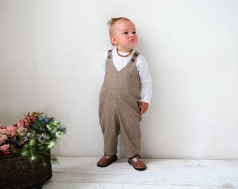 Baby romper Baby boy wool romper Toddler boy Overall Baby boy diaper cover Baby boy clothes 1st birthday outfit Baby wool overall