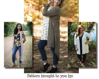 Mama Darcey Duster, Vest & Cardigan PDF Sewing Pattern
