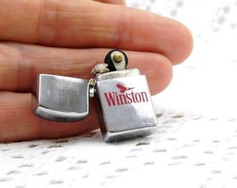 Miniature Working Vintage Winston Publicity Flip Top Metal Lighter, Small Zippo Style Advertising Cigarette Lighter, Smoking Curios