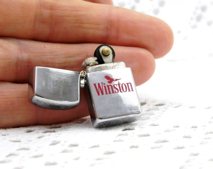Miniature Working Vintage Winston Publicity Flip Top Metal Lighter, Small Zippo Style Advertising Cigarette Lighter, Smoking Curios