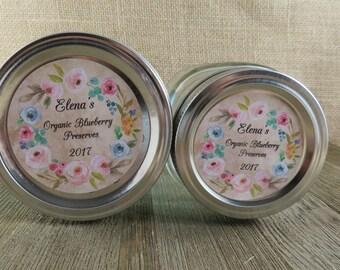 Mason Jar Canning Labels -  Vintage Floral Design - Personalized Canning Labels - Custom Canning Labels - Regular or Wide Mouth
