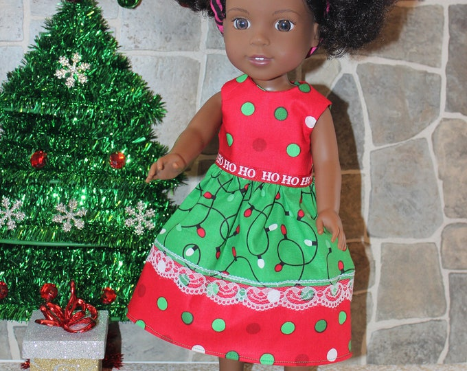 Christmas Print Dress,Ribbon, Sandals made to fit the likes of Wellie Wisher and other 14.5 inch dolls, FREE SHIPPING