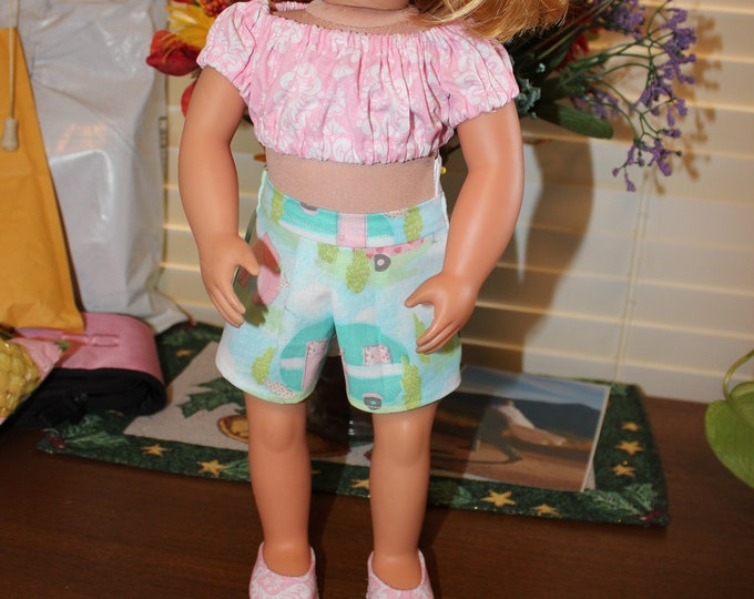 Ready for Spring, Pink With White Flowers Crop Top ,Green Print Shorts ,Matching Shoes made for the AG and other 18 inch dolls FREE SHIPPING
