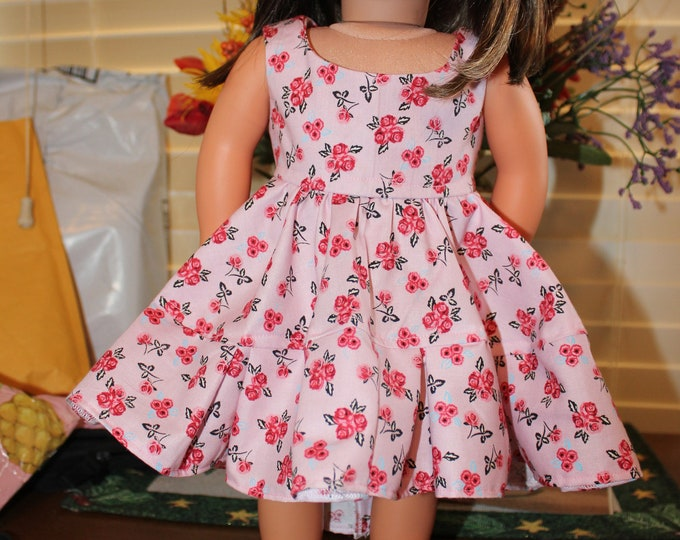 Ready for a Party, Small Pink Flower Print ,Dress , Matching Shoes made for the AG and other 18 inch dolls FREE SHIPPING