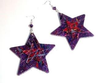 Majestic Stars Handpainted Wood Earrings