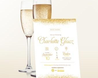 Gold Glitter Bridal Shower/Bachelorette Party Invitation
