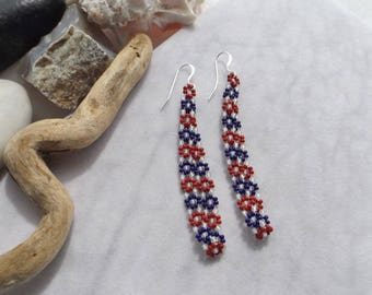 4th July Red, White, Blue Seed Bead Loop, Dangle Earrings, Daisy Chain, Glow in the Dark, Patriotic, Handmade, Handwoven, Patriotic, Boho
