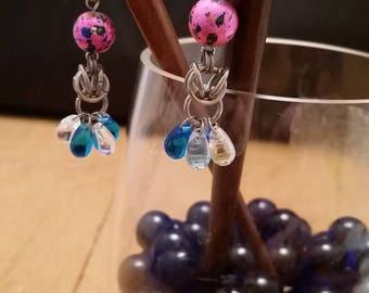 Pink & Blue Chainmaille Beaded Hairsticks - Matching Pair