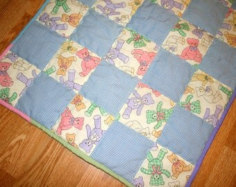 Teddy Bear Quilt Baby Quilt Small Crib Quilt Stroller Baby Quilt 23 x 32 Baby Blanket Fleece Backed Quilt