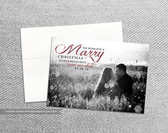 save the date christmas card, marry christmas, save our date card, invitation, wedding, card, PRINTABLE or PRINTED CARDS