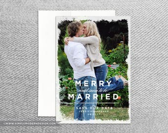 save the date christmas card, modern, merry and soon to be married, save our date, wedding, christmas, PRINTABLE or PRINTED CARDS