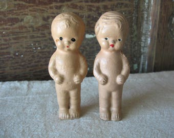 Two Cute Little Dolls, Vintage Composition, Carnival Prize, Marked BEST