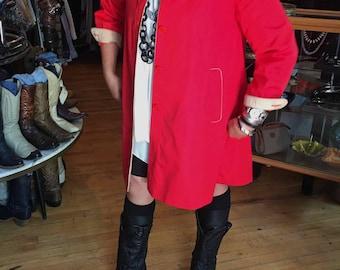 Vintage Fleet Street Women's Red Jacket Coat, Size 8