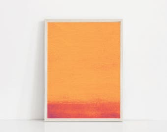 Gentil Modern Orange Print. Red And Orange Art. Orange Watercolor Print. Orange  Abstract Print