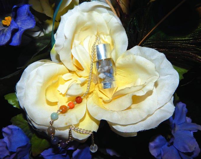Gemstone 'Spell Bottle' Celestite Dumortirite Moonstone Quartz Reiki Dowsing Pendulum w gemstone bead chain - Wicca Pagan Wiccan Occult