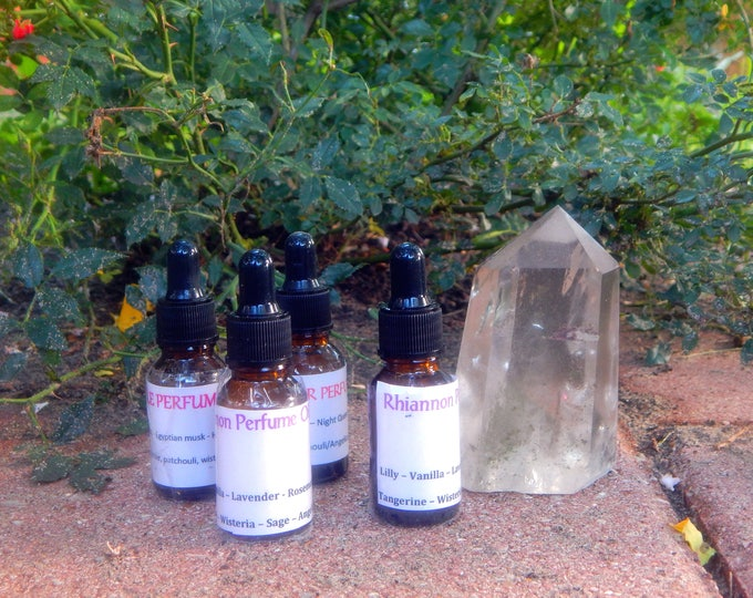 Organic PERFUME OILS - Fae Queen, Valkyrie, Siren | Boho Collection, many scents & sizes | handmade with essential oils crystal and herbs