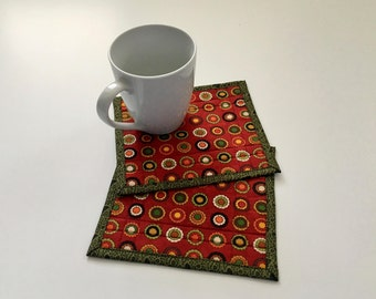 Fall Mini Mug Rugs, Fall Quilted Mug Rug, Autumn Mug Rug, Mini Quilt, Small Mug Rug, Snack Mat