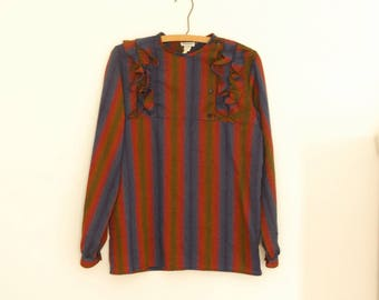 Multicolored Stripe Blouse with Ruffles - 1980s