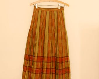Green Plaid Wool Skirt - 1980s