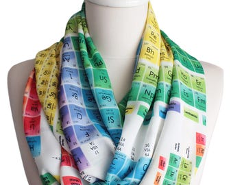 Periodic Colorful Infinty Scarf For her women Gift for Chemist Geeks Nerds Teachers Students chemistry Elements Scarf Chemical Accessories