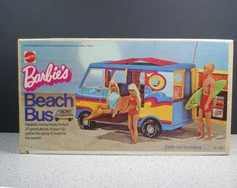 Mattel 1973 Barbie Beach Bus with Original Box and Accessories