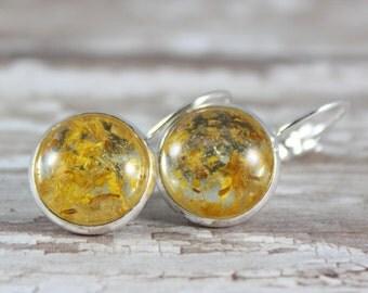 Real Sunflower Dangle Earrings