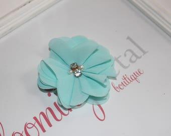 Aqua Chiffon Rhinestone/Pearl Flower Clip