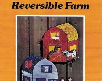 REVERSIBLE Barn and Farmhouse with 5 Animals and 2 People  Patchwork Sewing Pattern