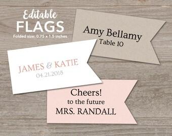 Editable Toothpick Flag Template // Favor Flags, Drink Straw Flags Printable // Toothpick Flags for Wedding // Place Card Flags