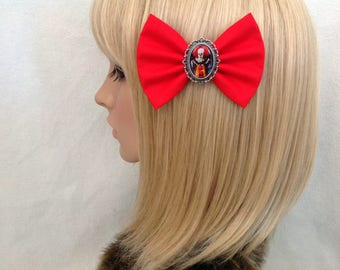 Stephen Kings IT hair bow clip rockabilly psychobilly pin up punk alternative fabric black red horror Halloween scary
