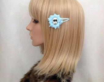 Pastel blue Sugar Skull hair rose flower snap clip rockabilly pin up girls psychobilly punk pretty cute retro Dias de Los muertos Mexican
