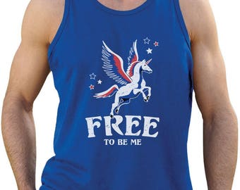 Free To Be Me - Magical Flying Unicorn 4th of July - Men's Tank Top Singlet