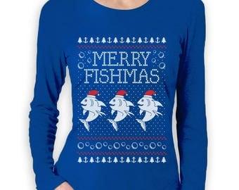 Merry Fishmas Fishing Ugly Christmas Sweater Women Long Sleeve T-Shirt