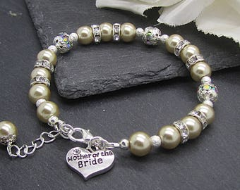 Champagne Pearl Bracelet, Mother of the Bride Gift, Pearl Bridal Jewellery, Mother of  Groom, Wedding Keepsake Bracelet, Champagne Wedding