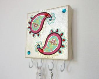 Paisley Necklace Holder, Jewelry Rack, Jewelry Storage, Necklace Hanger, Boho Dorm Decor, Pre Teen Gift, Dorm Wall Art, Dorm Room Decor anl