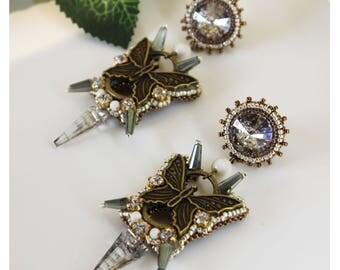 Spike crystal earrings, bead embroidery butterfly earrings, green, statement earrings, beaded dangle, chandelier earrings, dangle