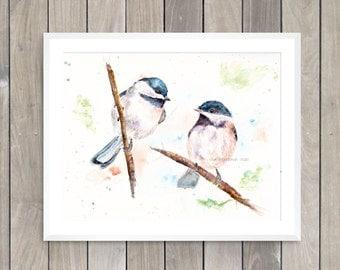 Chickadee art print: chickadee painting backyard bird art watercolor bird art chickadee print chickadee gift idea chickadee wall decor