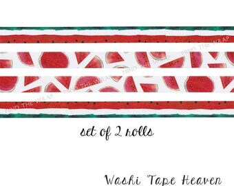 NEW 2 rolls - Watermelon Washi Tape set - 15mm x 3m each - Summer Picnic Fun Planners Decoration Collage Paper Crafting Supply