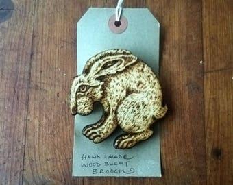 Original Wood burnt large hare brooch, pyrography1