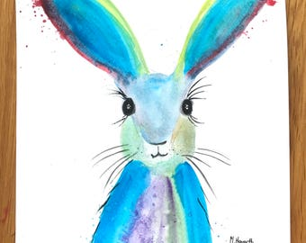 Rainbow hare, original watercolour painting, not a print, hare illustration, hare artwork, hare painting, colourful hare, nursery art 9 x 12