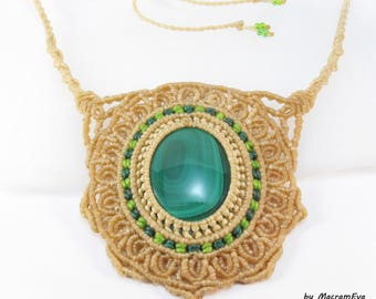 Malachite healing stone mandala necklace