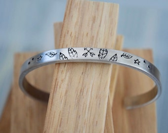 Feathers and Arrows Design ~ 12 Gauge Aluminum ~ Cuff Bracelet