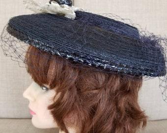 Vintage Women's Dark Blue Lace & Straw Veiled Hat