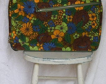 Bright Mod Floral Fabric Suitcase / Avocado Green and Orange Overnight Bag