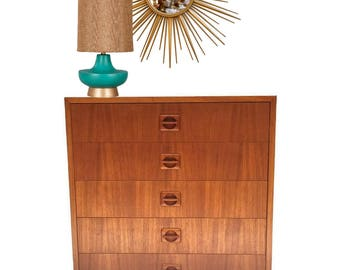 Mid Century Modern Danish Teak Cabinet Modular Unit 5 Drawer Chest Teak Desk Storage Side Cube End Table Lingerie Chest Danish Modern