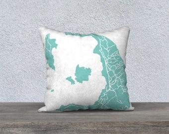 Santorini Greece Map Pillow Cover