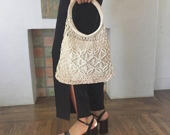 VTG Handmade White Crochet Ring Handle Purse Bag